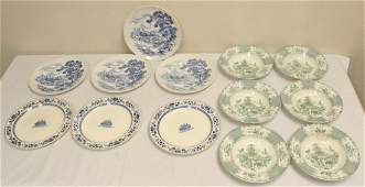 6 English soup bowls and 7 Wedgwood platters