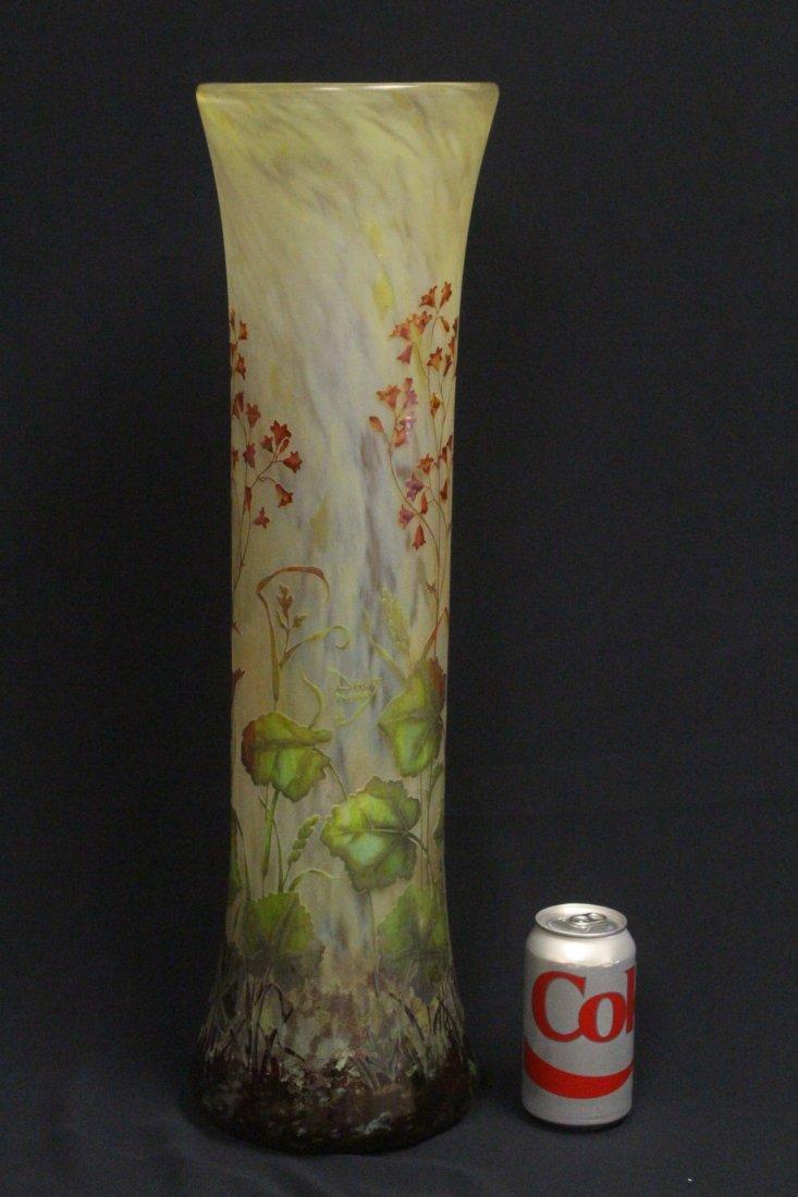 unusually lg overlay glass vase by Daum Nancy