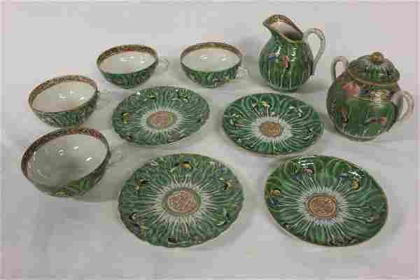 10 pieces Chinese antique rose canton tea set