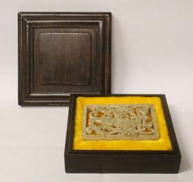 Chinese White Jade Carved Plaque In Huali Wood Box
