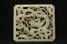 Chinese Light Celadon Hetian Jade Square Plaque
