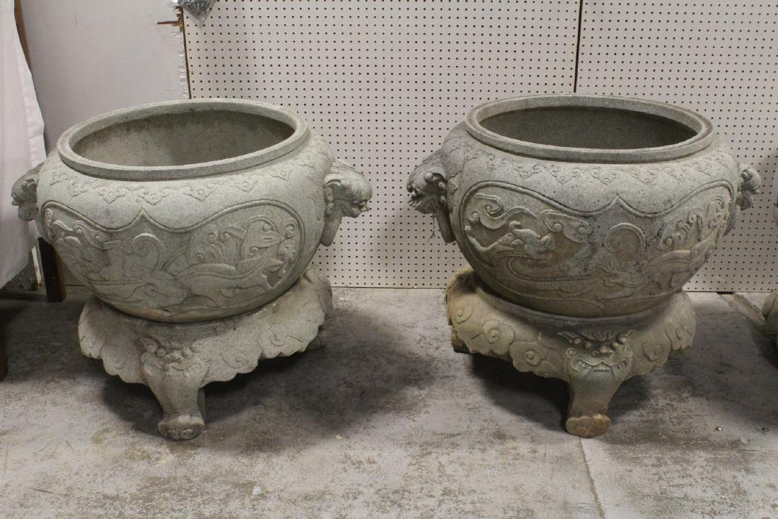 Pair Chinese large stone carved planters