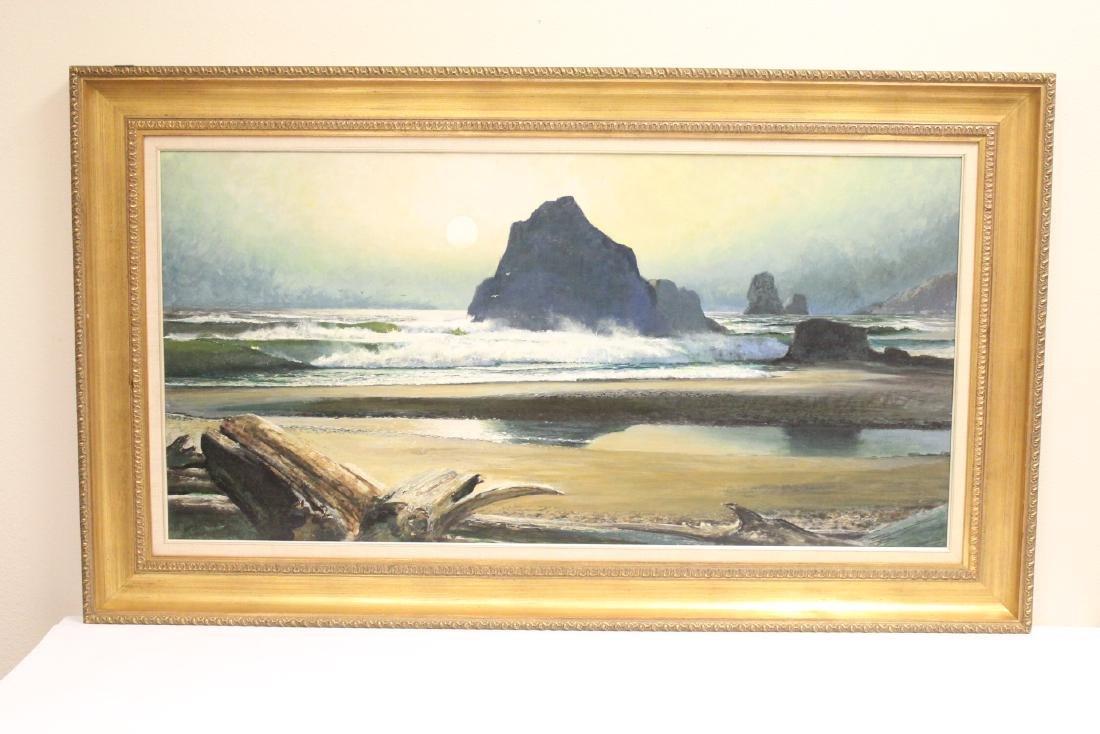 """oil on board """"seashore scene"""" by Ren Wicks"""