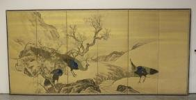 Large Japanese 18th/19th C. Kano School Screen
