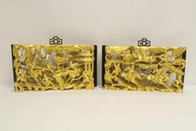 Pair Chinese Antique Gilt Wood Wall Hangings