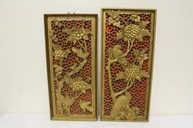 Pair Chinese Carved Gilt Wood Wall Hangings