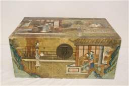 Chinese antique trunk with paintings on all side