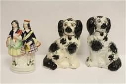3 pieces antique Staffordshire porcelain