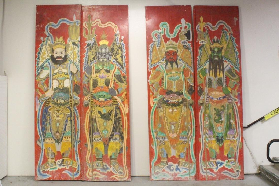Four 19th c. magnificent temple door panels