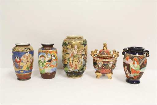 4 Vintage Japanese Kutani Vases And A Kutani Censer