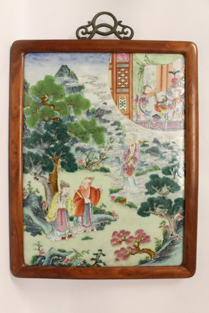 Chinese antique porcelain plaque w/ huanghuali frame