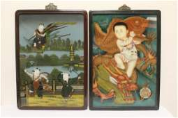 2 Chinese framed reverse painted panels
