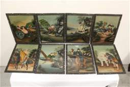 Set of 8 Chinese framed reverse painted panels