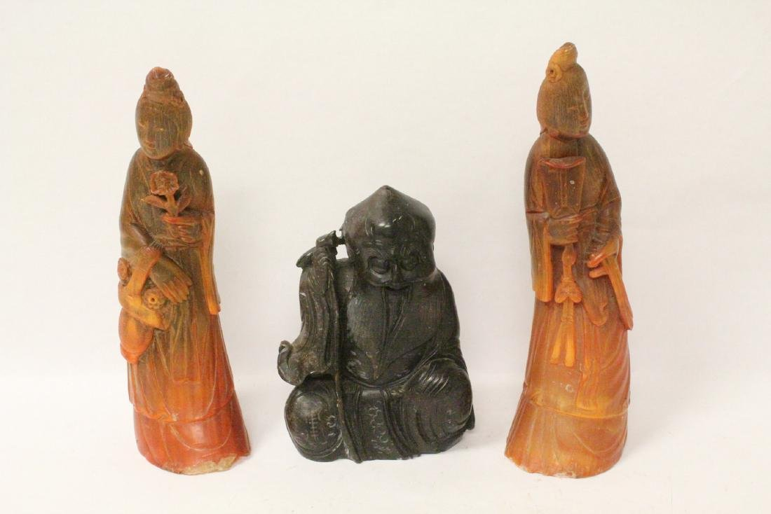 2 Chinese horn figures and a shoushan stone  figure