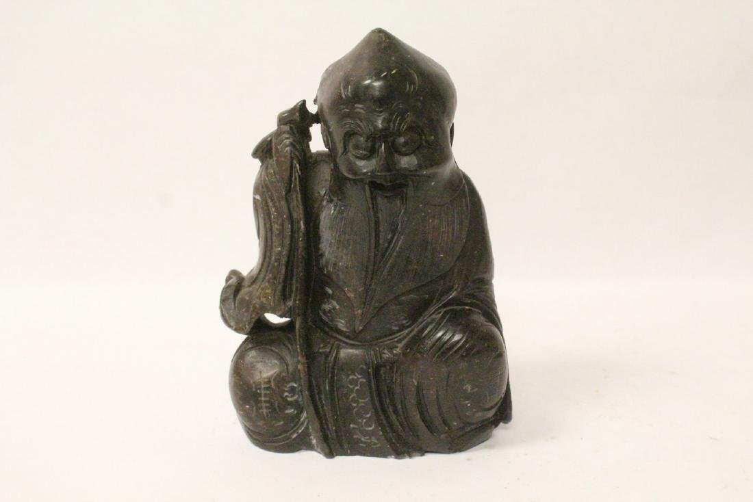 2 Chinese horn figures and a shoushan stone  figure - 5