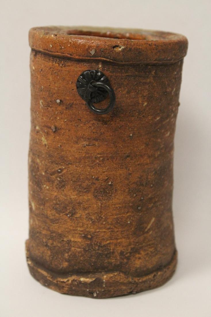 Japanese studio art pottery vase, signed - 3