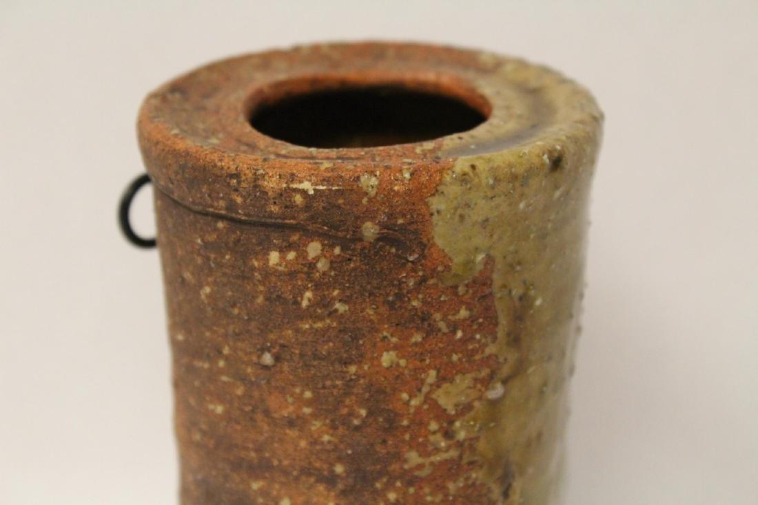 Japanese studio art pottery vase, signed - 5