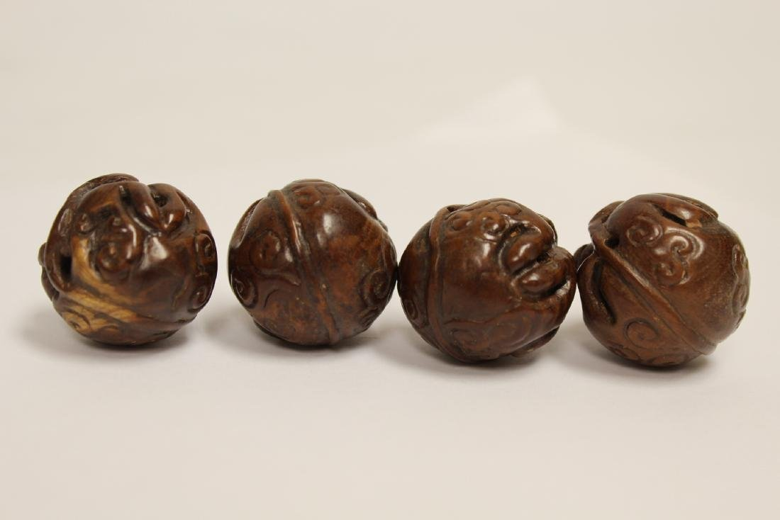 9 Chinese antique walnut carved beads - 7