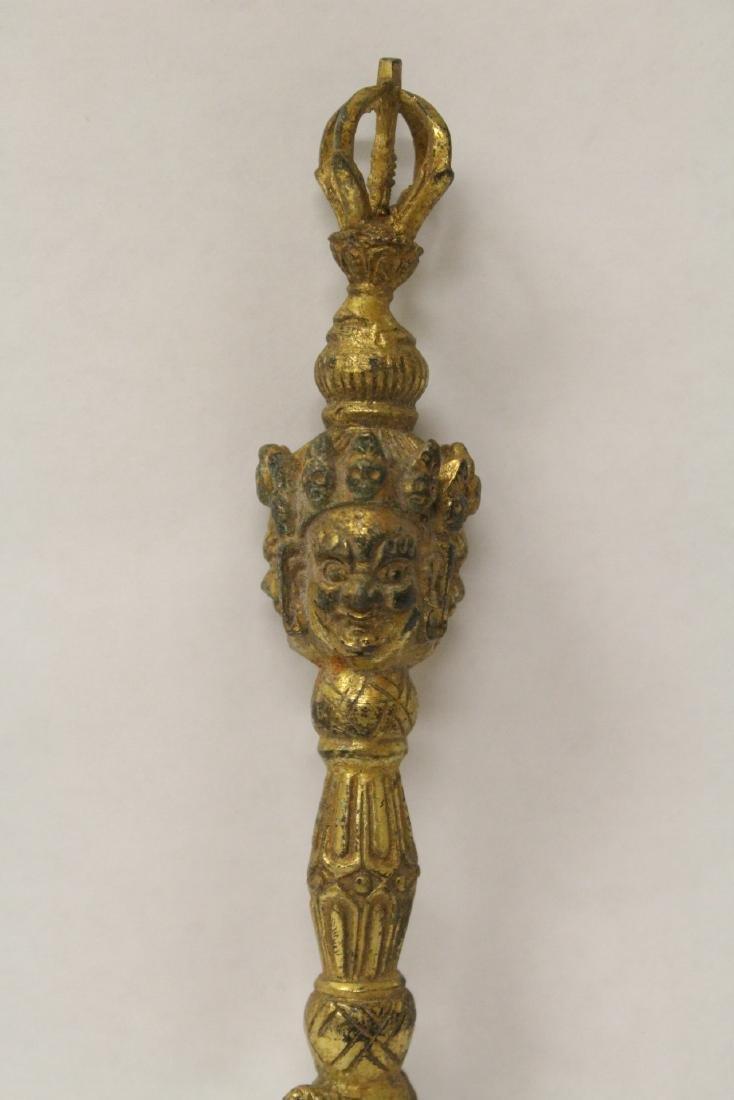 Tibetan gilt bronze religious instrument - 3