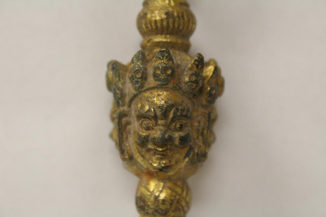 Tibetan gilt bronze religious instrument - 4