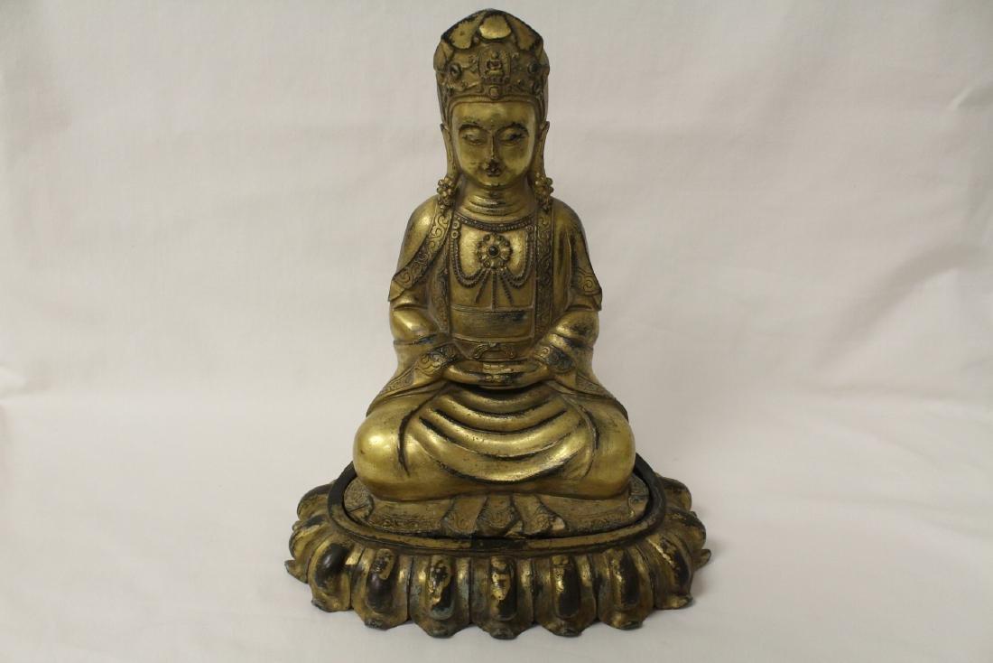 Chinese gilt bronze Buddha w/ gilt bronze stand