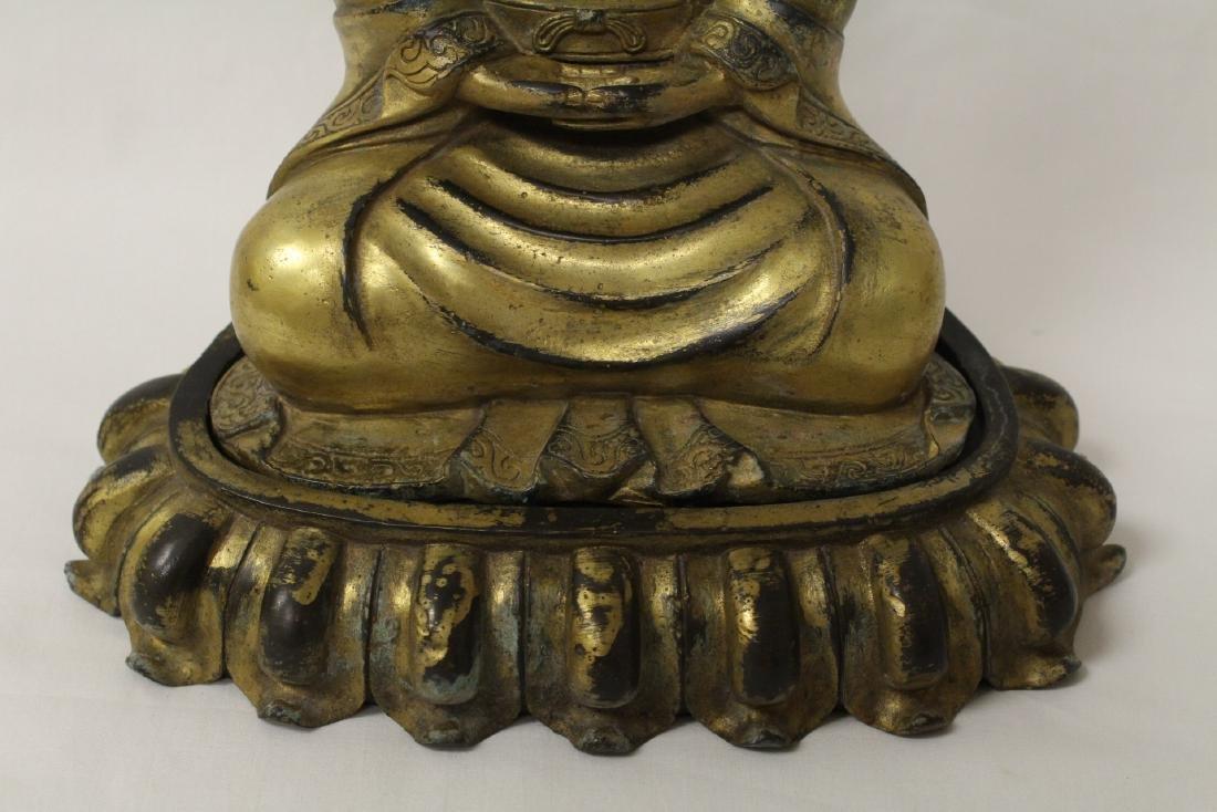Chinese gilt bronze Buddha w/ gilt bronze stand - 2