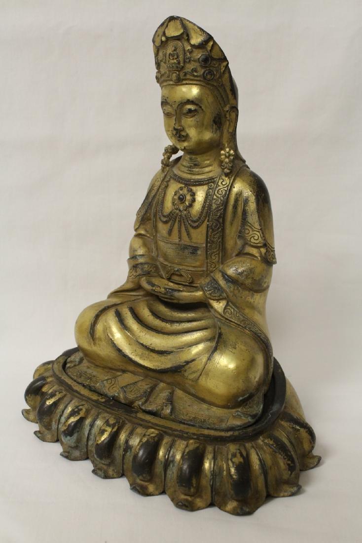 Chinese gilt bronze Buddha w/ gilt bronze stand - 5