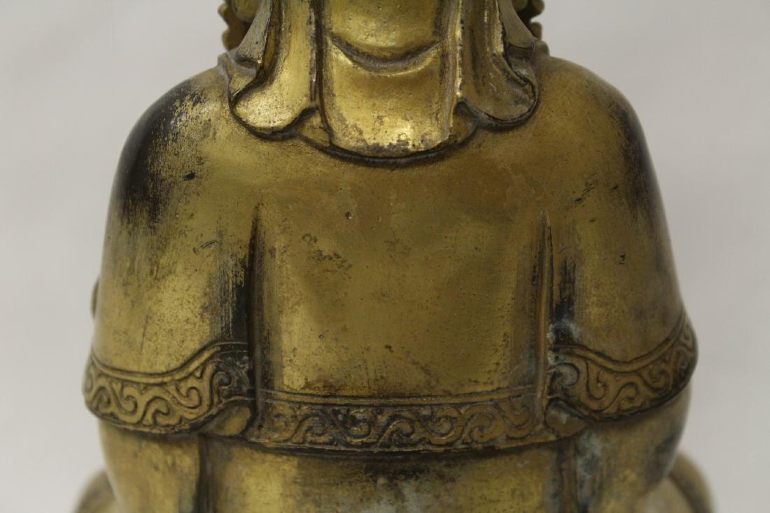 Chinese gilt bronze Buddha w/ gilt bronze stand - 8