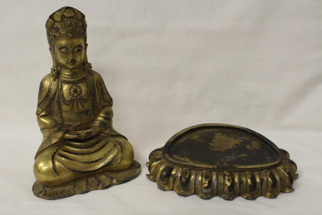 Chinese gilt bronze Buddha w/ gilt bronze stand - 9