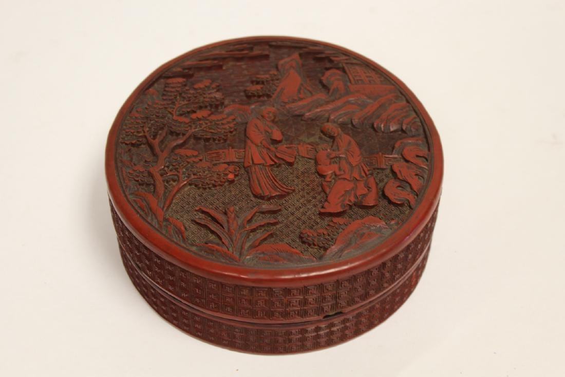 Antique Chinese cinnabar covered box