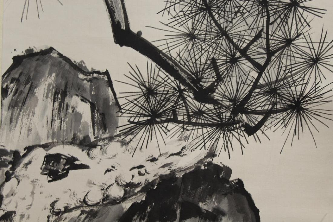 Chinese watercolor scroll depicting pine tree - 8