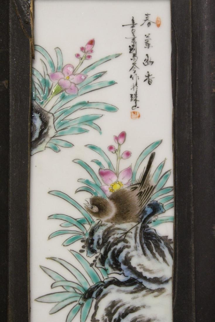 Pair Chinese early 20th c. framed porcelain plaques - 9
