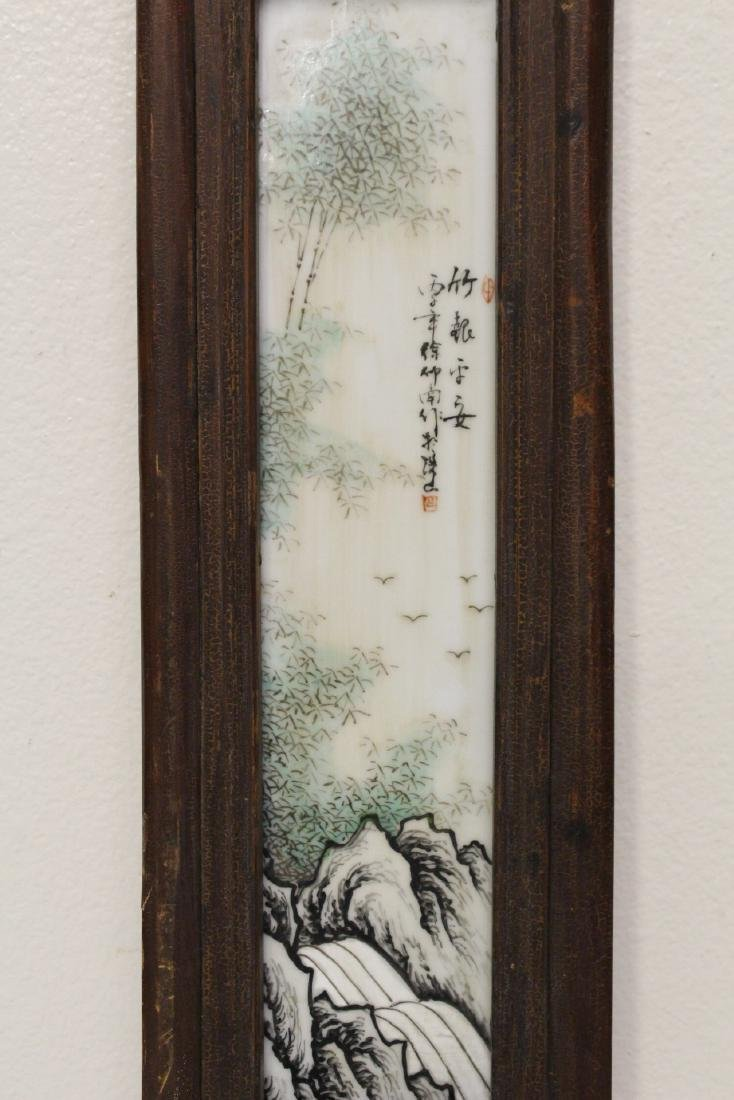 Pair Chinese early 20th c. framed porcelain plaques - 7