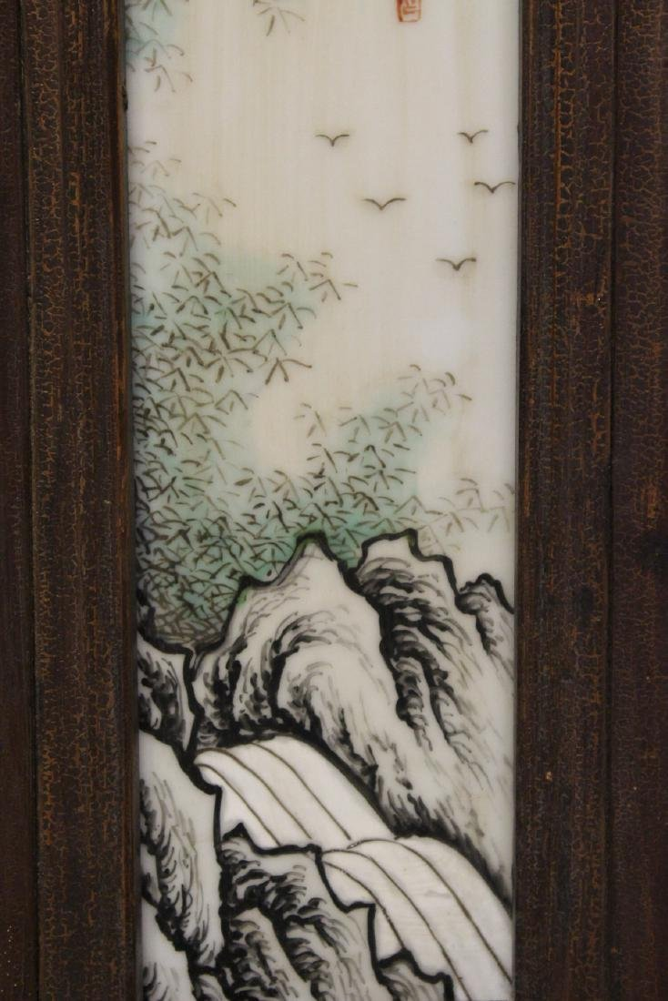 Pair Chinese early 20th c. framed porcelain plaques - 8