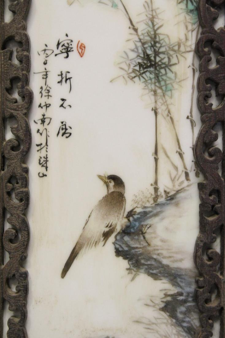 Pair Chinese early 20th c. framed porcelain plaques - 5