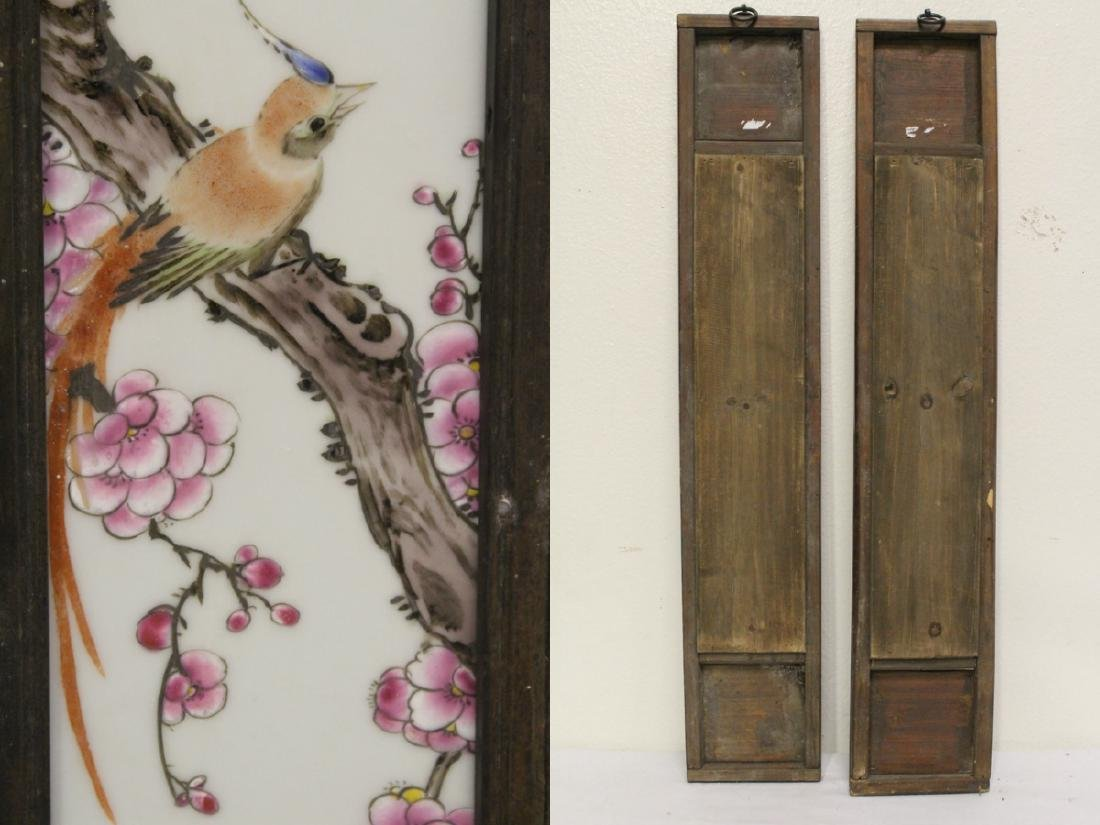 Pair Chinese early 20th c. framed porcelain plaques - 10