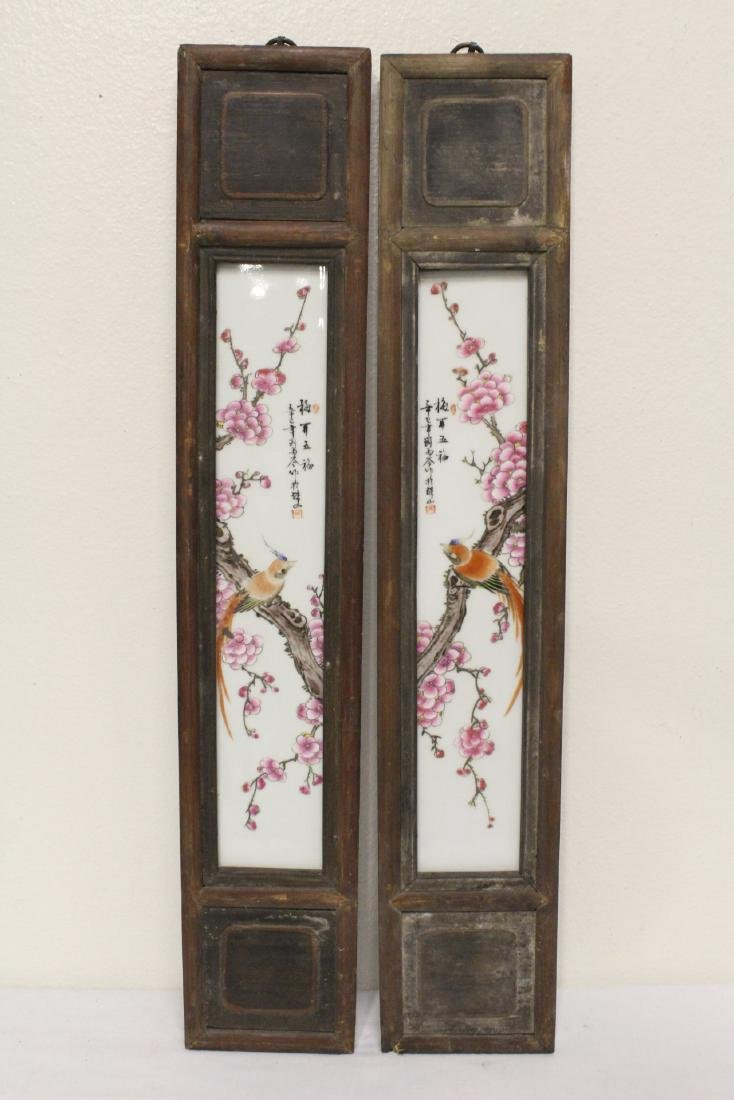 Pair Chinese early 20th c. framed porcelain plaques
