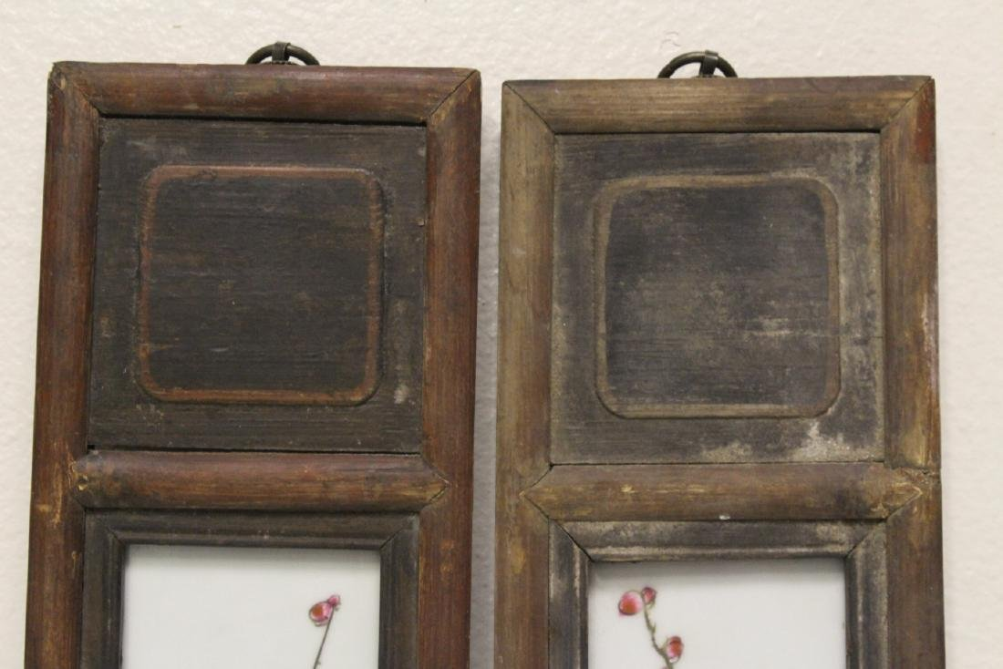 Pair Chinese early 20th c. framed porcelain plaques - 3