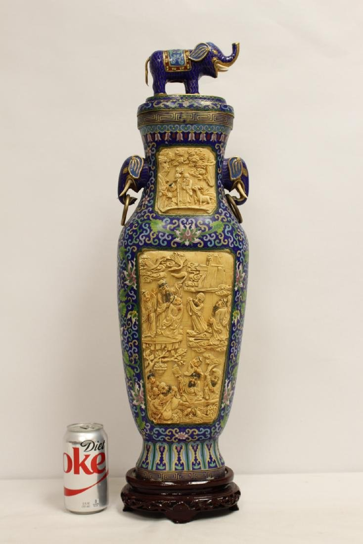 A large Chinese cloisonne vase with bone plaque
