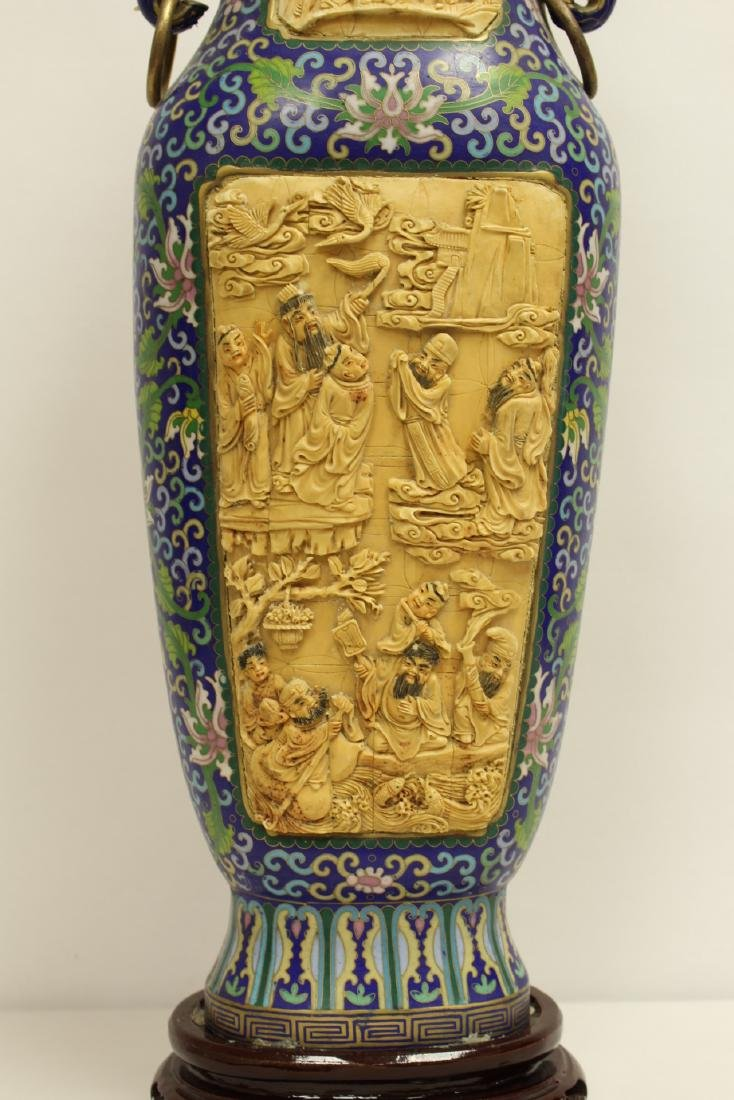 A large Chinese cloisonne vase with bone plaque - 5