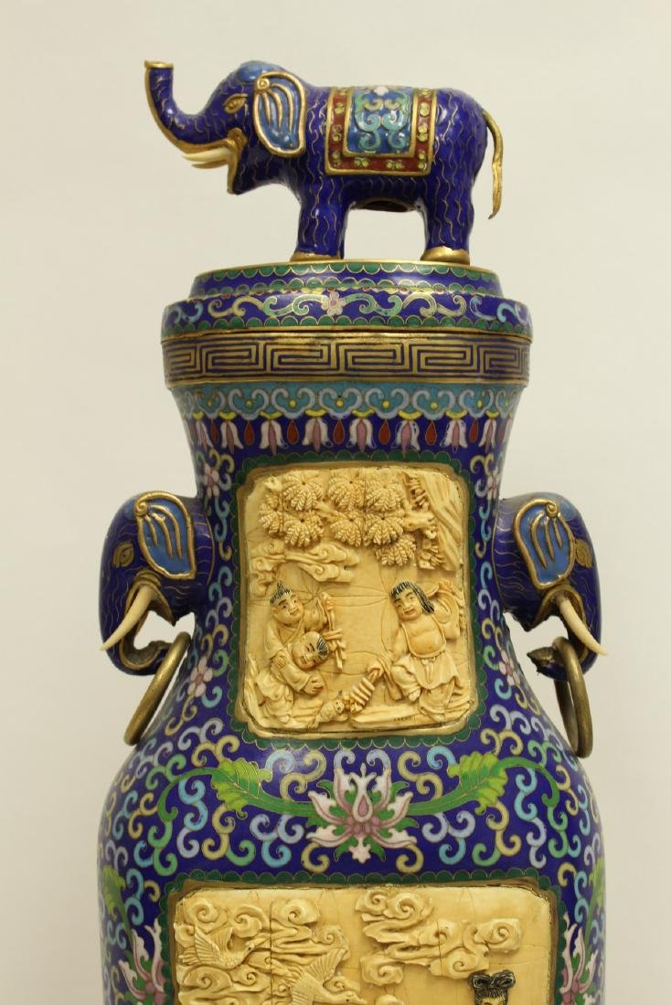 A large Chinese cloisonne vase with bone plaque - 8