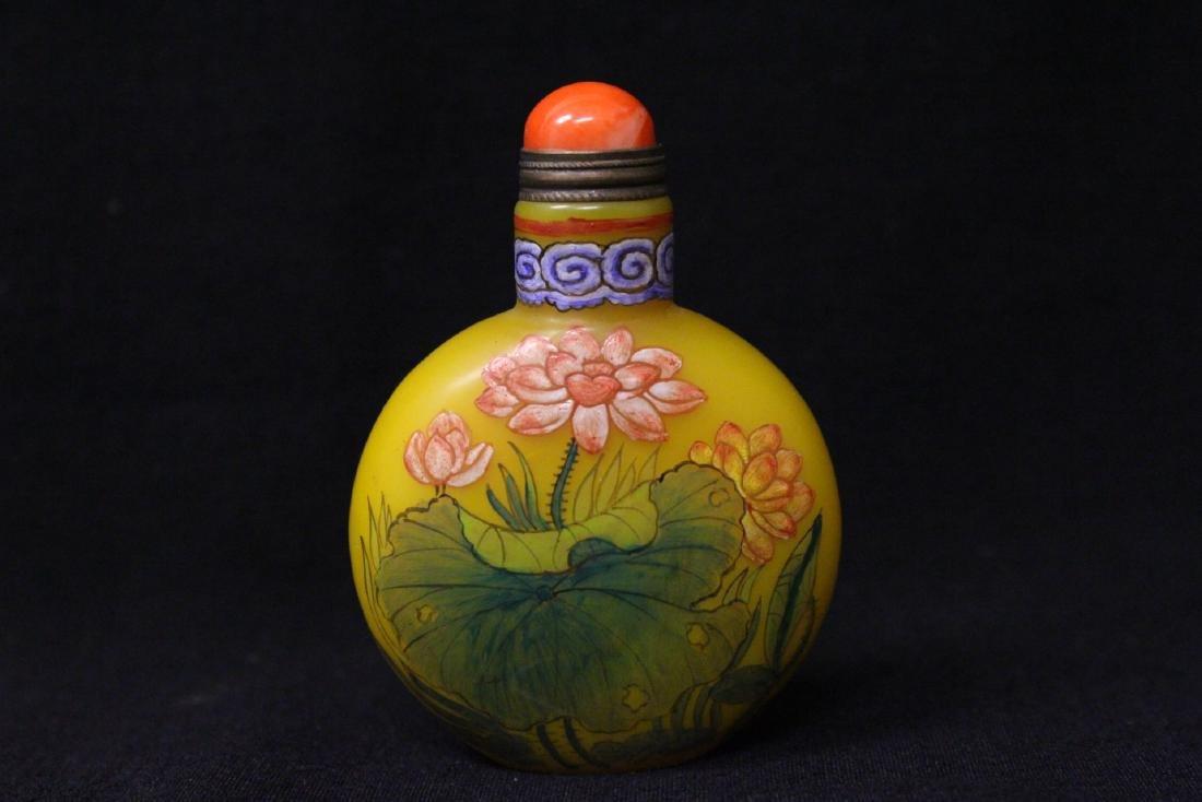 Chinese enamel on Peking glass snuff bottle - 5