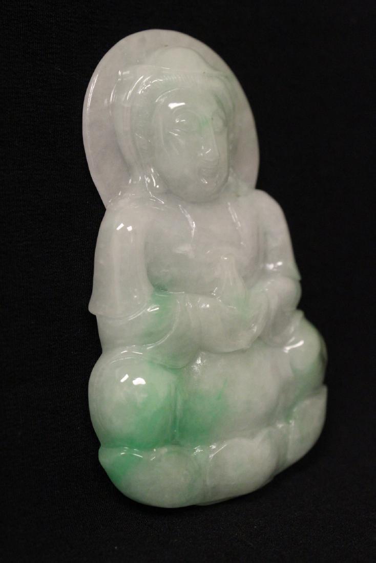 Unusually lg Chinese apple green jadeite pendant - 6
