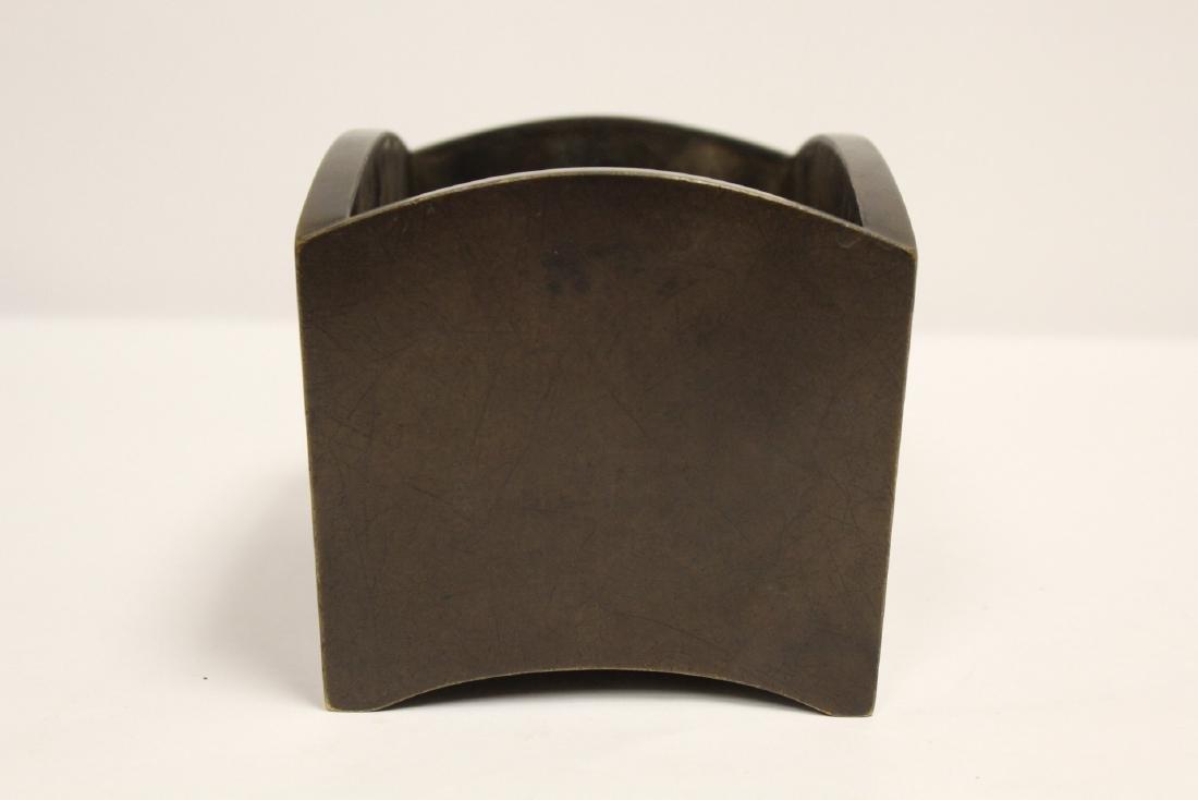 Chinese 19th/20th c. very heavy bronze censer - 2