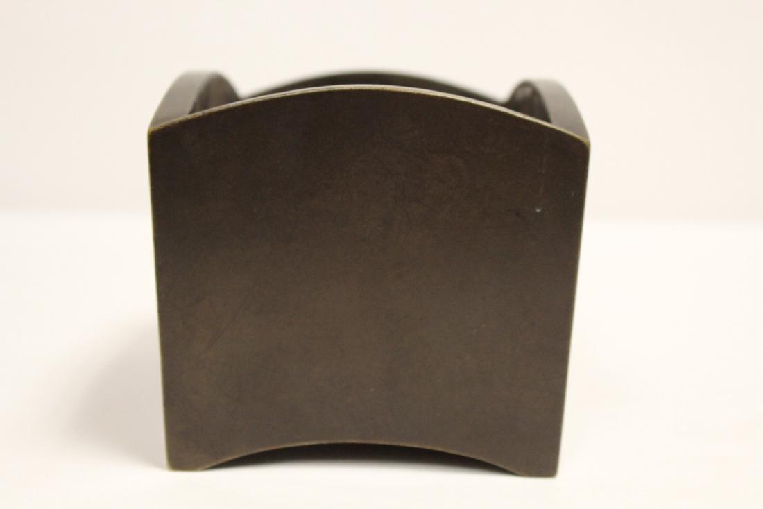 Chinese 19th/20th c. very heavy bronze censer - 4
