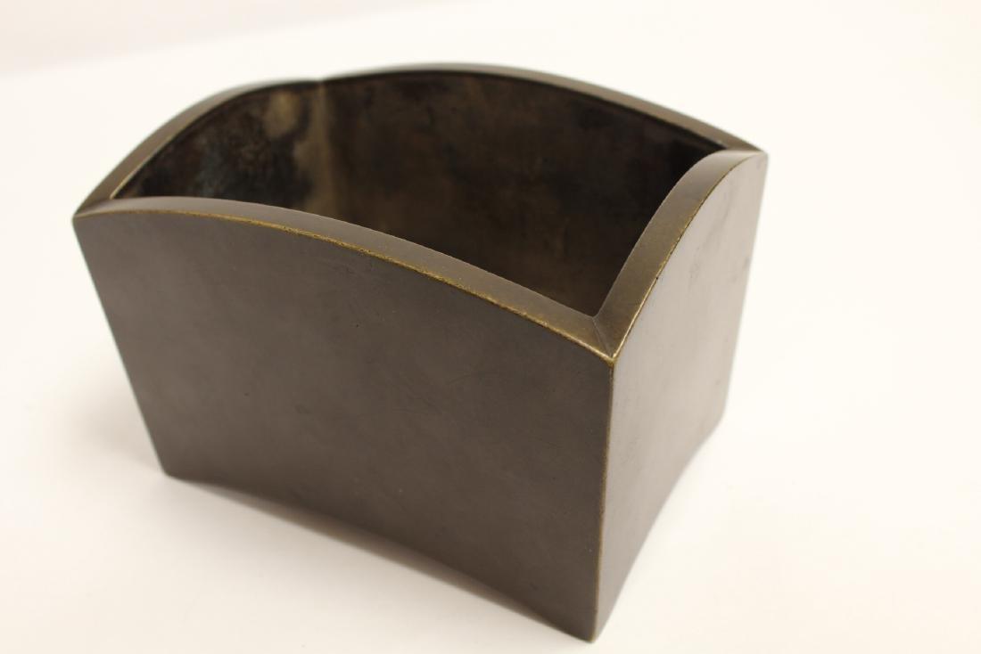 Chinese 19th/20th c. very heavy bronze censer - 9