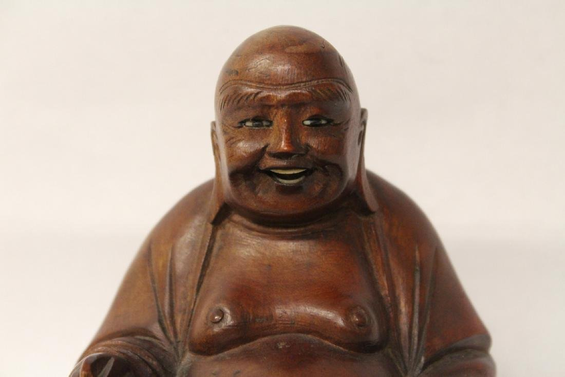 Chinese vintage rosewood carved seated Buddha - 2