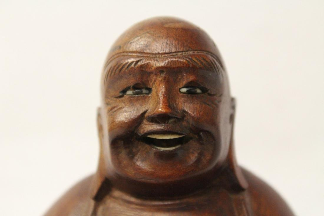 Chinese vintage rosewood carved seated Buddha - 4