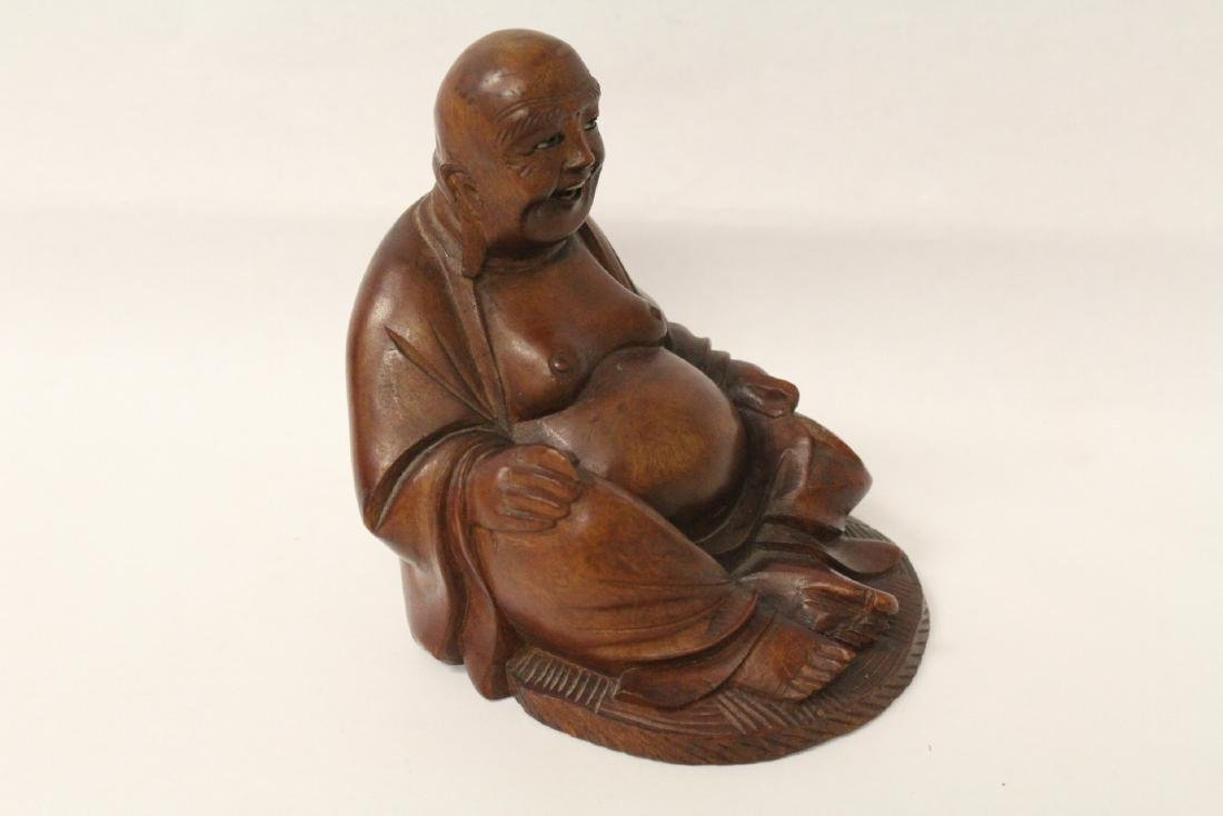 Chinese vintage rosewood carved seated Buddha - 6