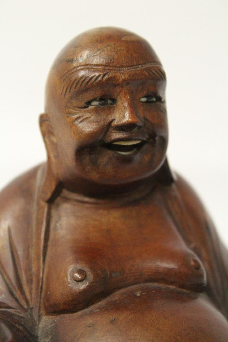 Chinese vintage rosewood carved seated Buddha - 8